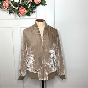 Madewell NWT Crushed Velvet Blush Bomber Jacket